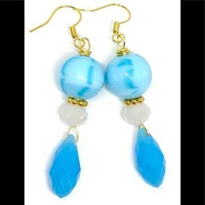 Aqua Sky Blue White Marbled Opaque Glass Earrings